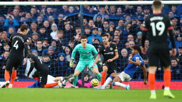 Dominic Calvert-Lewin makes it three for Everton against Chelsea FC at Goodison Park.