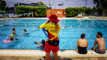 Keeping cool at North Melbourne pool.
