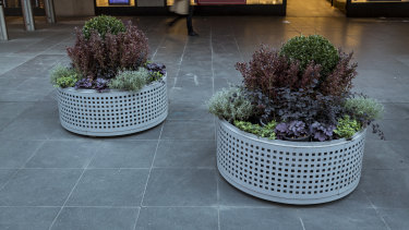 Planter-box bollards in Bourke Street Mall.