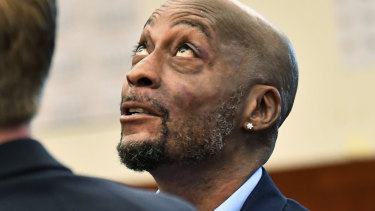 DeWayne Johnson looks up during a brief break as the Monsanto trial in San Francisco.