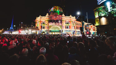 Crowds at White Night in Melbourne.