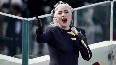 Lady Gaga performs at the 46th Presidential Inauguration.