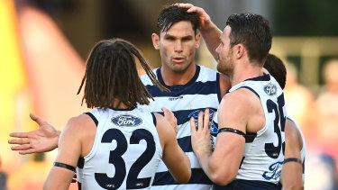 Forward march: Geelong's Tom Hawkins  helped get the Cats over the line in a narrow win over Sydney.