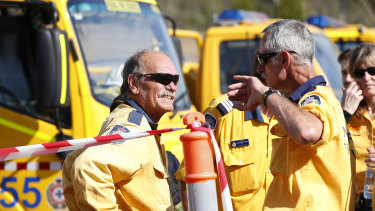 Fire and Emergency crews from New South Wales prepare to join their Queensland counterparts in the ongoing bushfire control effort near the rural town of Canungra in the Scenic Rim region.