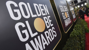 Signage promoting the 77th annual Golden Globe Awards and NBC appears in Beverly Hills, California.