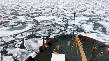 The US Coast Guard Icebreaker Healy on a research cruise in the Chukchi Sea of the Arctic Ocean.