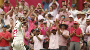 Nathan Lyon celebrates  five-wicket haul against New Zealand at the SCG last January.