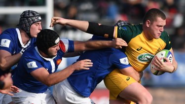 Waratahs signing Angus Bell rips into France at the under-20 World Cup.