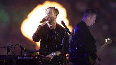 OneRepublic perform before the start of the 2019 NRL grand final.