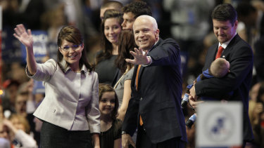 Republican presidential candidate John McCain with vice-presidential candidate Sarah Palin on the campaign trail in 2008.