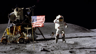 John Young salutes the US flag at the Descartes landing site on the moon during the first Apollo 16 landing in 1972.