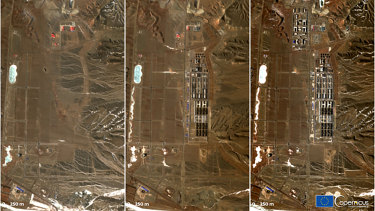 Satellite images of a detention facility near Dabancheng, Xinjiang region.