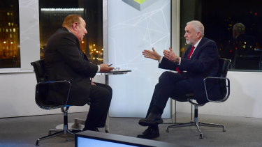 Andrew Neil interviews then Labour leader Jeremy Corbyn during the 2019 election campaign. Boris Johnson refused to be interviewed by the veteran broadcaster.