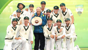 Australia celebrate after their 2-0 series win over Pakistan.
