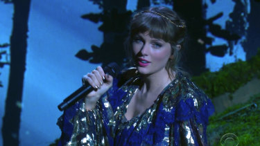 Taylor Swift performs at the Grammy Awards this month.