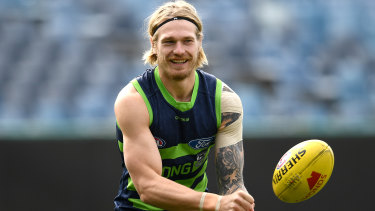 Tom Stewart trains ahead of Geelong's clash against West Coast.