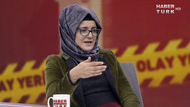 Hatice Cengiz appears in an interview on Turkish television.