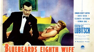 Promotional lobbycard for the 1938 movie 'Bluebeard's Eighth Wife'.