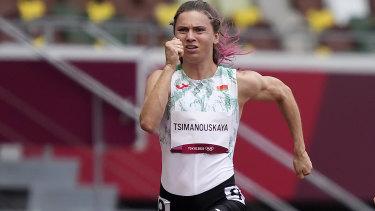 Krystsina Tsimanouskaya in the women's 100-metre sprint on Friday.