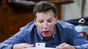 Sean Hayes lathers his face in banana as an antidote to a numbing cream in a hilarious scene from season 10.