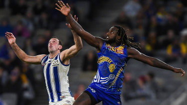 Nic Natanui was one of West Coast's best again but could not get his team over the line.