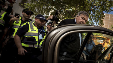 George Pell leaves court in December after being found guilty.