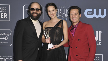 Brett Gelman, Phoebe Waller-Bridge and Andrew Scott with the award for best comedy series for Fleabag at the 25th annual Critics' Choice Award.