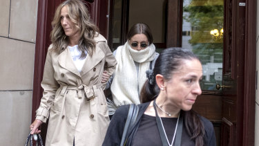 Sarah Ristevski, centre, leaves the Court of Appeal in Melbourne in December.