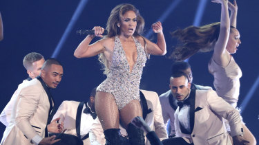 Jennifer Lopez performs a medley during a tribute to Motown's 60th anniversary at the Grammys on Sunday.