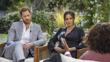 Prince Harry and Meghan Markle in conversation with Oprah Winfrey.