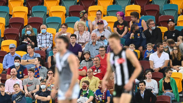 Fans watch the match from bay 13 at the Gabba on Monday night.