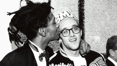Jean-Michel Basquiat, left, and Keith Haring at the opening reception for Julian Schnabel at the Whitney Museum of American Art, New York, 1987.
