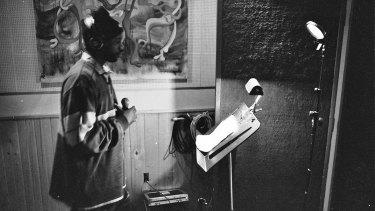 Malik B in studio.