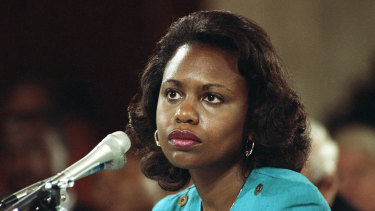 Anita Hill testifies before the Senate Judiciary Committee on the nomination of Clarence Thomas to the Supreme Court on Capitol Hill in Washington in 1991.