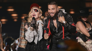 Madonna performs with Maluma.