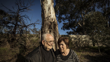 Les and Vasiliki Kermanidis in parkland  across the road from their Bulleen home of 46 years. It is among six hectares of open space to go, to widen the Eastern Freeway.