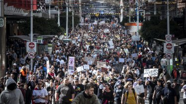 Thousands of protestors stormed the streets of Melbourne's CBD and were met with heavy a police presence.