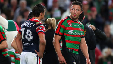 Sam Burgess exchanges words with Billy Smith on Thursday night.