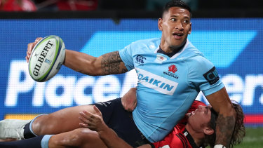 Israel Folau scores a try for the NSW Waratahs against the Crusaders in Christchurch on Saturday.
