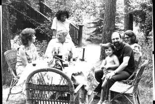 Kim Philby, 36, his wife Nina, 20 years his junior, and (standing) Nishia, Israeli wife of Philby's son, John. Right are George Blake, 52, his wife Ida, 42, and their son Mischa, aged four.