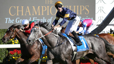 Tommy Berry on Chautauqua wins the TJ Smith at Randwick in 2017.  The race will be worth $1.25 million this year.
