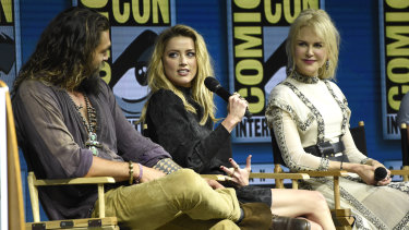 Jason Momoa, Amber Heard and Nicole Kidman at the Aquaman panel at 2018 Comic-Con.