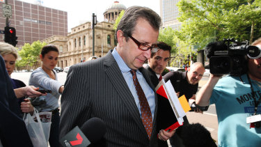 Lawyer George Defteros outside court in Melbourne in 2019.