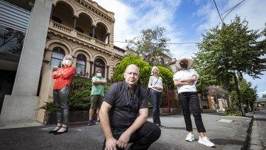 East Melbourne residents  Greg Bisinella (centre). Nicole and Chris Pelchen, Sylvia Black and Diana Bosak outside Eblana.