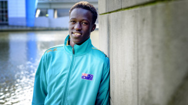 Sprint star: Australia's 800m record-breaker Joe Deng.