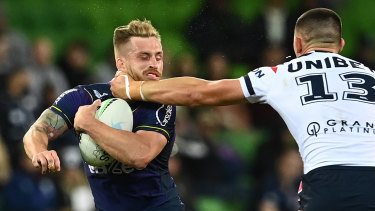 Victor Radley catches Cameron Munster last month, before the crackdown. Radley was sent to the sin bin for the offence.