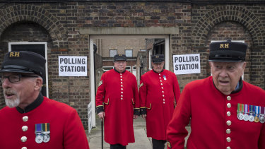 Chelsea Pensioners vote on Brexit at the Royal Chelsea Hospital in London, June 2016.