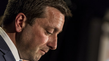Opposition Leader Matthew Guy concedes defeat in the Victorian election.