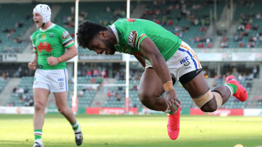 Canberra's Semi Valemei scores during the Raiders' romping win over the Dragons.