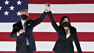 Democratic presidential nominee Joe Biden and his vice-presidential nominee, Kamala Harris, at the party's national convention in August.